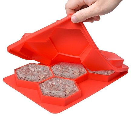 Hexagonal Silicone Burger Press with 5 Divisions Tasty Healthy Patties Stacks for Freezer Storage, Safe and Perfect for Outdoor Picnic or Party