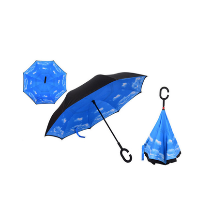 Windproof Double-Layered Hands Free Inverted Reverse Folding Upside-Down Umbrella