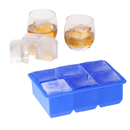 Large Silicone Ice Cube Tray - 6 Block Jumbo Giant Rocks Cocktail Blocks Maker