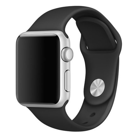 Soft Silicone Sport Style Replacement iWatch Strap Band for Apple Wrist Smart Watch (Black/38mm)
