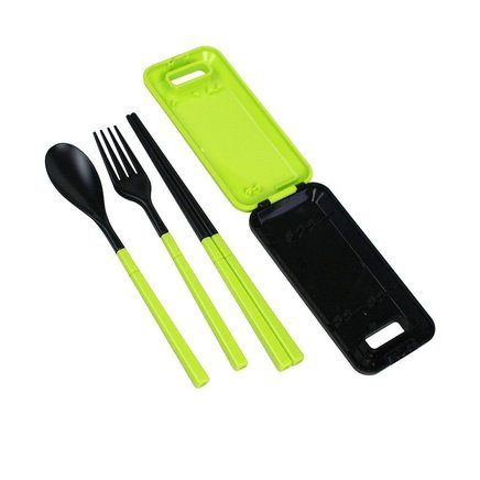 Green Portable Travel Kids Adult Cutlery Fork Chopsticks Spoon Camping Picnic Set Gift