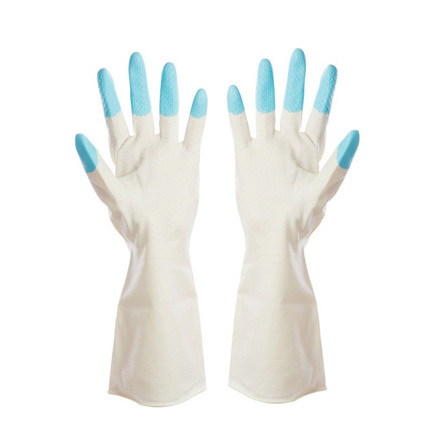 Blue Kitchen Chores Clean Waterproof Rubber Gloves