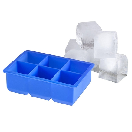 Large Silicone Ice Cube Tray 6 x Jumbo Cocktail Rocks Freezer Moulds
