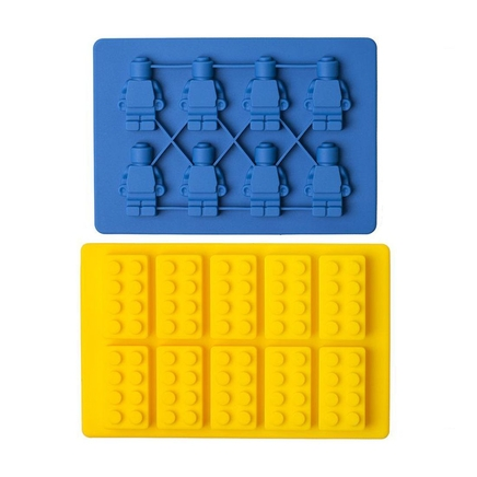 2pc Set of Retro Lego Robot Silicone Ice Cube Baking Moulds