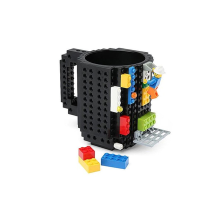 DIY Building On Brick Lego Block Style BPA Free Coffee Cup Drinking Mug - Black