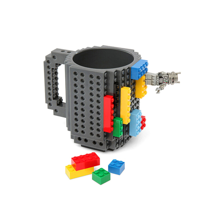 DIY Building On Brick Lego Block Style BPA Free Coffee Cup Drinking Mug - Gray