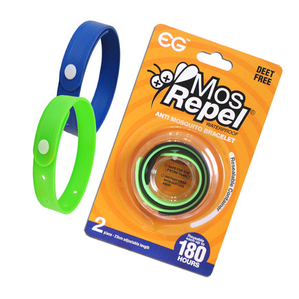 Pack of 2 Waterproof Mosquito Repellant Mosrepel bracelets - 180 hr protection