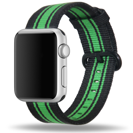 Apple Watch Strap Replacement Handmade 38mm Black Green Woven Nylon Band