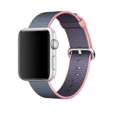 Apple Watch Strap Replacement Handmade 42mm Blue Pink Woven Nylon Band