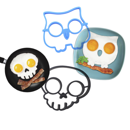 Fried Egg Mold Pack for Kids - Skull and Owl Silicone Mould Pack