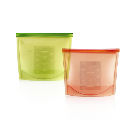 Pack of 2 Reusable Silicone Airtight Seal Food Preservation Container Kitchen Cooking Bag (20.5*18*1cm)
