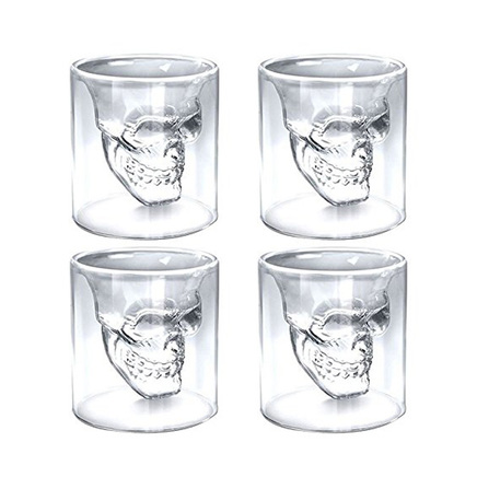 4X Crystal Skull Head Vodka Shot Whiskey Home Wine Beer Tea Glass Drinking Cup