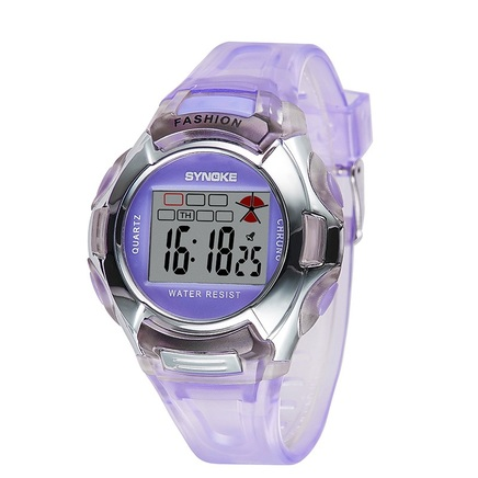 Kids Girl Student Digital Crystal Alarm Sports Waterproof Luminous Watch (Purple)