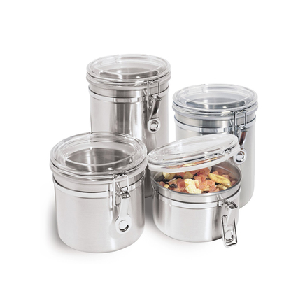 4-Piece Stainless Steel Food Storage Canister Set with Airtight Acrylic Lid and Clamp Kitchen Containers