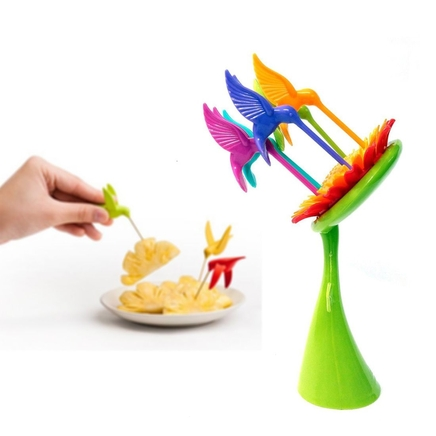 Birds of Paradise - Sunflower Fruit Fork Server Set