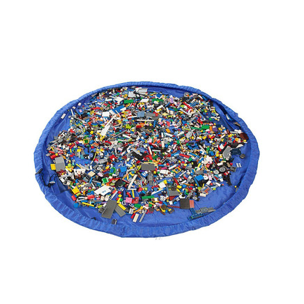 2 in 1 Portable Large Toy Storage Organizer Bag Play Mat Rug for Legos Block Doll Diameter Around 60inch(Blue)