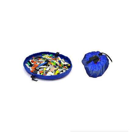 2 in 1 Portable Kids Toys Storage Bag & Play Mat Toy Organize Diameter Around 18inch(Blue)