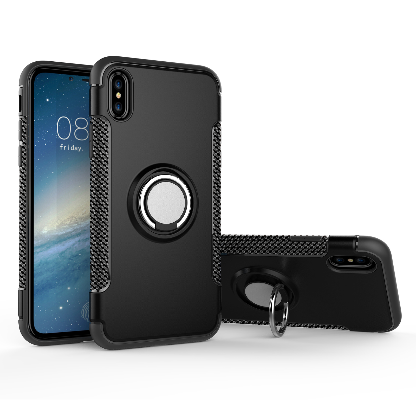 sale retailer 48593 ae2c8 Best iPhone X Armour Case with Magnetic 360 Degree Rotation Ring ...