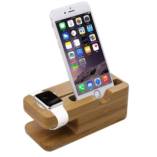 Apple Watch Bamboo Stand Charging Dock Station Stand Holder for Apple SmartWatch & iPhone